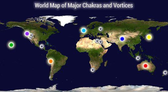 Carte des points de chakra et vortiques de la Terre