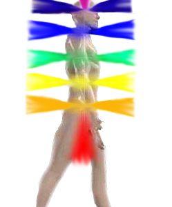 Les chakras sont des vortex de lumière multicolore.